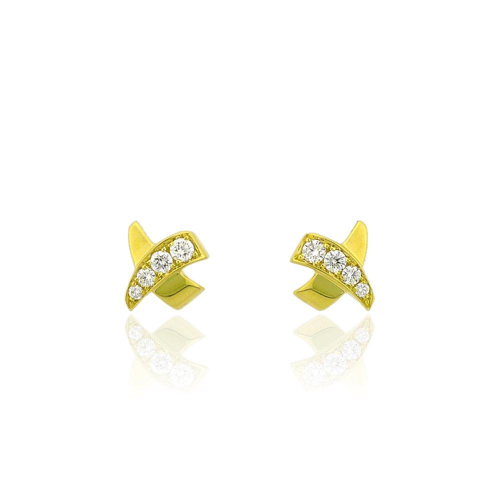 """Gold Diamond """"X"""" Earrings, $1,295"""
