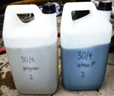 Till vänster släppvatten med tillsatt polymer, till höger vanligt släppvatten. Foto: pia dromberg 2013