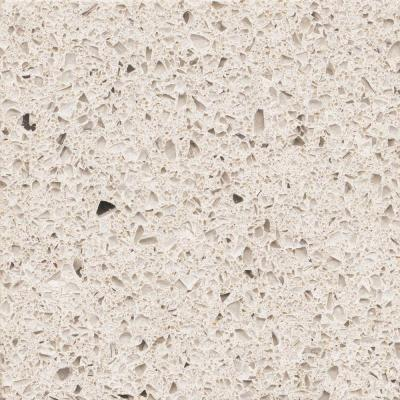 A resin bonds together quartz aggregates. Photo of Silestone Stellar Snow, courtesy of Home Depot.