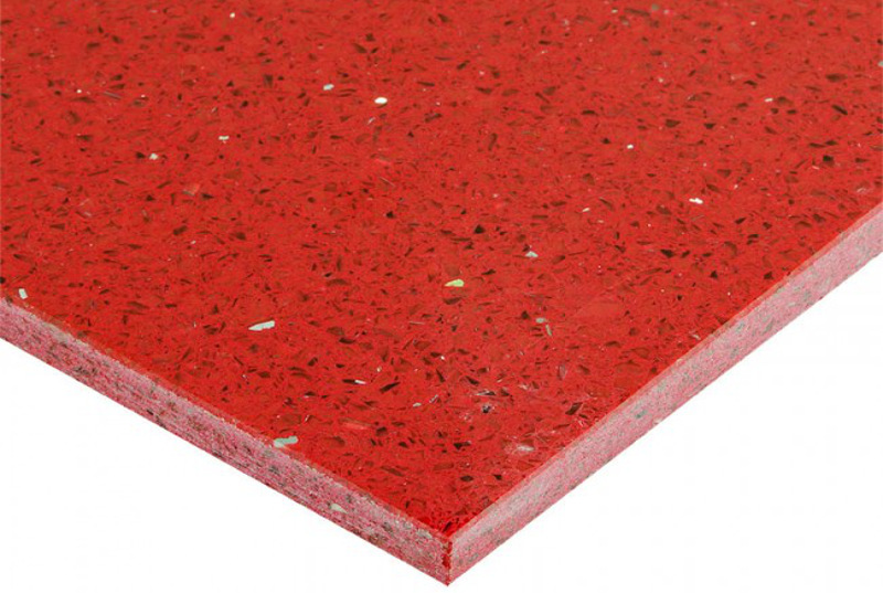 Quartz can come in vibrant colors since pigment can be added to the resin. Additional aggregates such as mirror can add interest also. Photo courtesy of sabbini.com