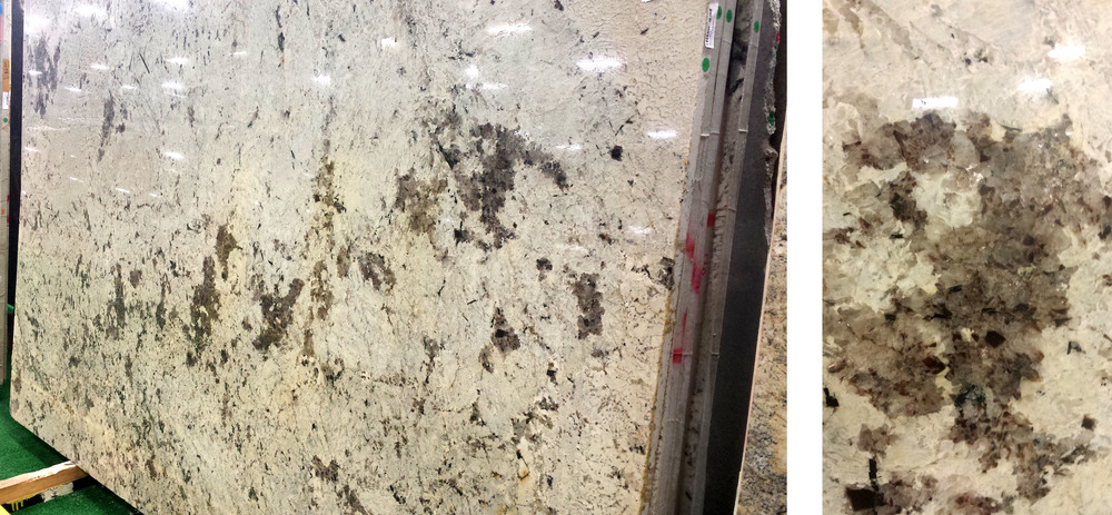 The larger, darker area of this granite has very beautiful reflective features that you would want to make sure stand out!