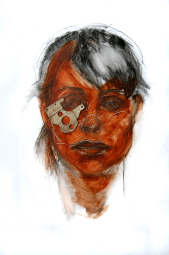 Metal Head 18 2009, multi-media on mylar, 51 x 76 cm