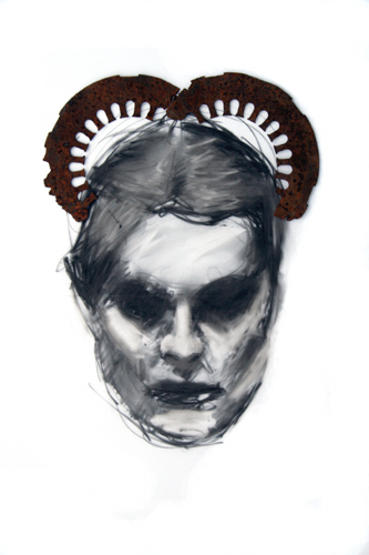 Metal Head 34 2009, multi-media on mylar, 51 x 76 cm