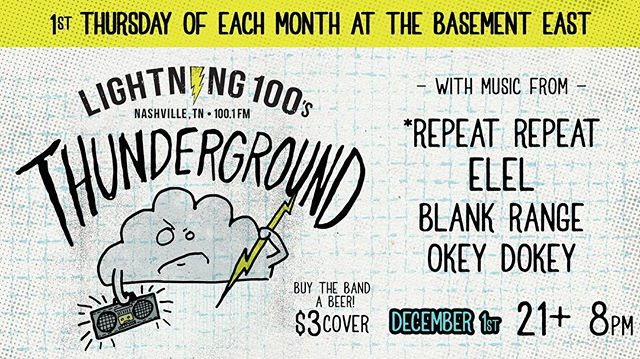 Thankful for friends like @lightning100 @repeatx2 @blankrange and @okeydokeyband and thankful for this show next week!!! What a way to come home off the road! ------------------------------------------ #nashville #nashvillemusic #livemusic #thunderground #newnashville #indiemusic