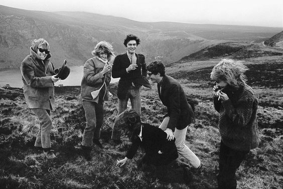 Brian Jones, Nicki Browne, Anita Pallenberg and other guests stand in front of Lough Tay