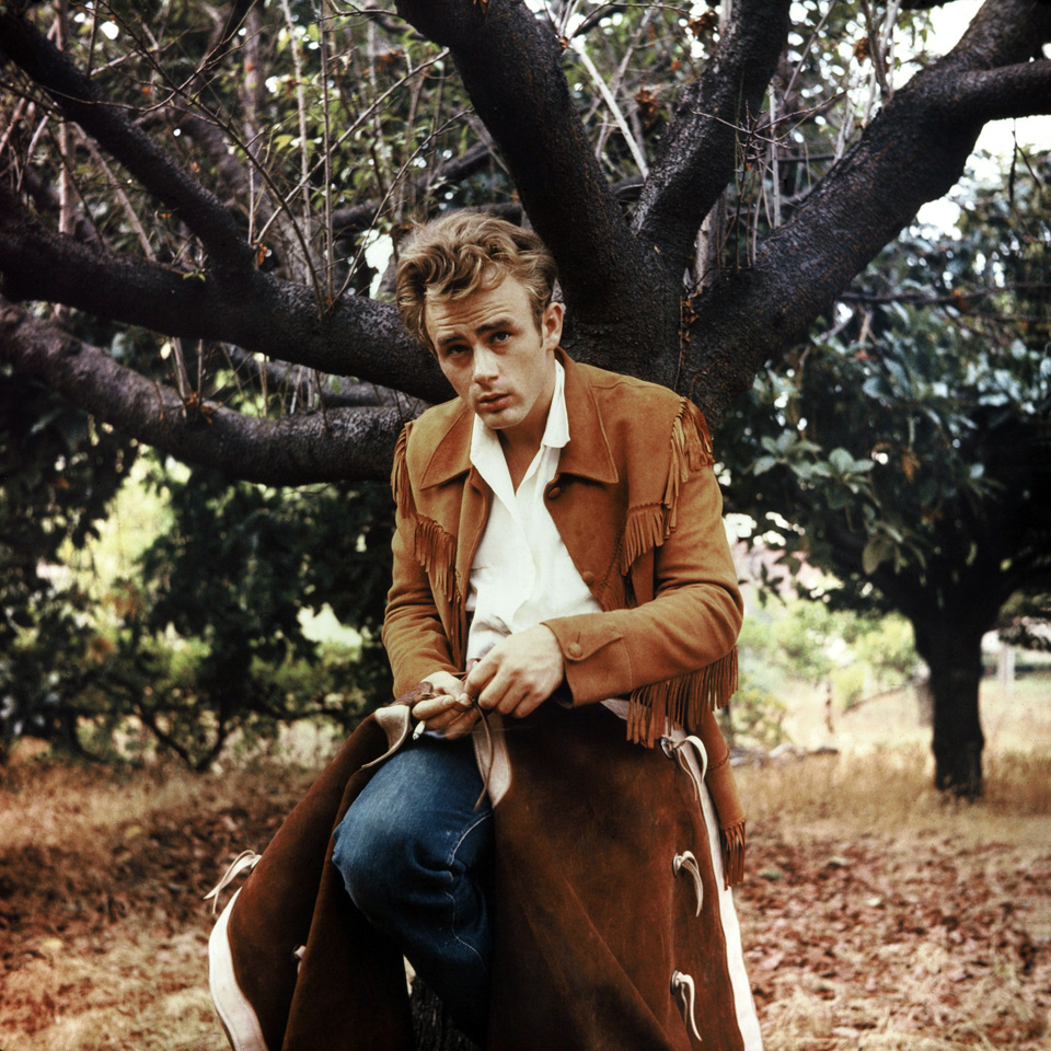 James Dean, on the set of Giant, 1956