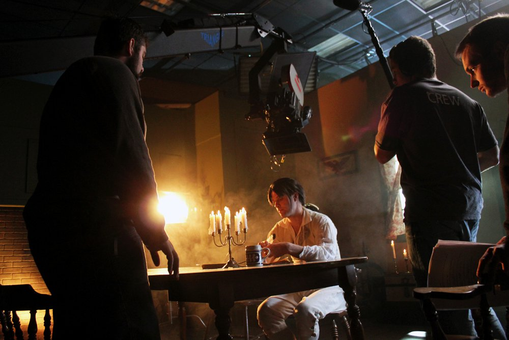 """Filming """"Field of Honor"""" on the sound stages at Full Sail University, 2010."""