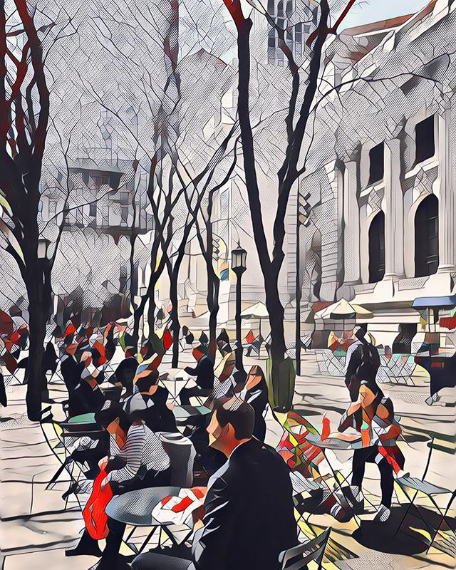 Outside the NYC Library #lunch #prisma #art #library #nyc #citylife