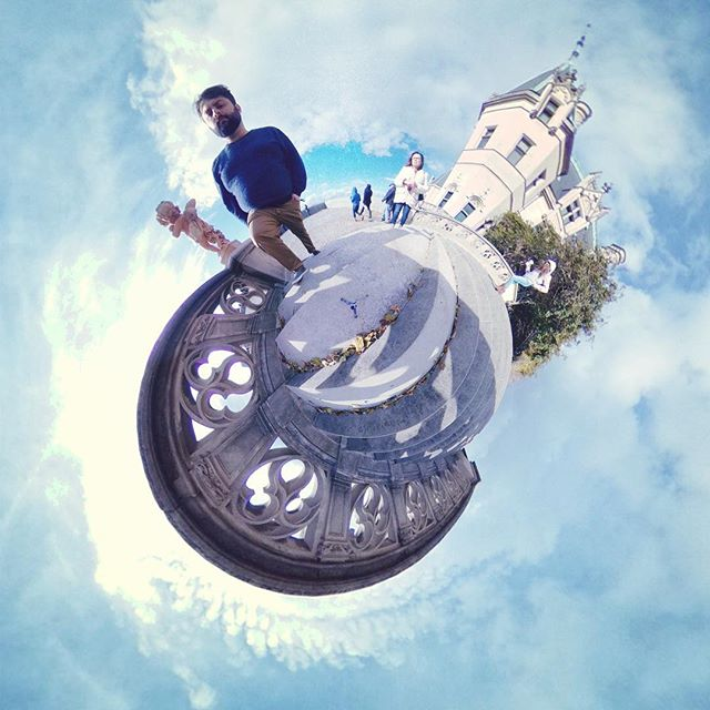 Vanquishing foes at Biltmore. . . . #littleplanet #tinyplanet #theta360 #ricohtheta #thetaV #castle #sky #clouds #fall #leaves #biltmore #mansion #picoftheday