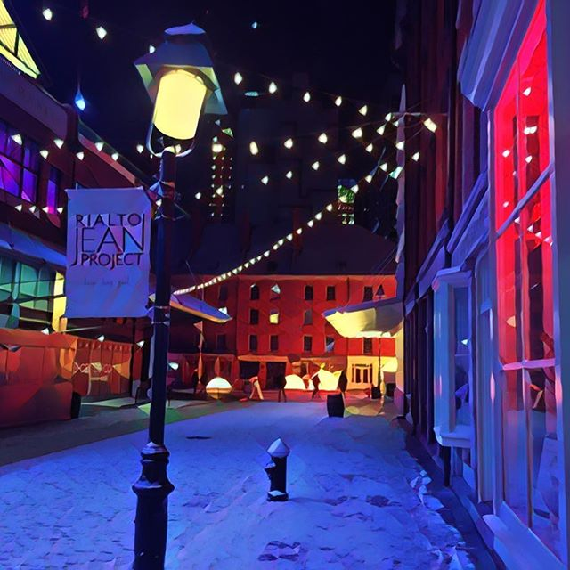 Snowy alley . . . #snow #color #prisma #scene #setting #lights #winter #lantern #christmas #photography #lighting #alley #nyc #citylife #city
