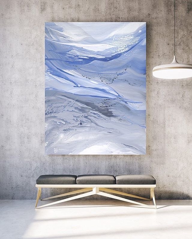 This palette of blues, greys, and white is so calming and can hang almost anywhere.  Another very large canvas that overtook the studio and literally became drenched many times with paint before it was just right! Also available as a custom reproduction! . . View Drenched and more of my artwork at guererra.com! . #addictedtoart #art #artist #abstractart #painting #paint #artwork #prints #shophandmade #shopsmall #colorful #emerald #instaart #interiordesign #interiorstyling #mintedartist #handmade #interiorliving #housebeautiful #contemporaryart #creative #buyart #iliketoartyhard #createeveryday #studio #modernart #apartment #houseandhome