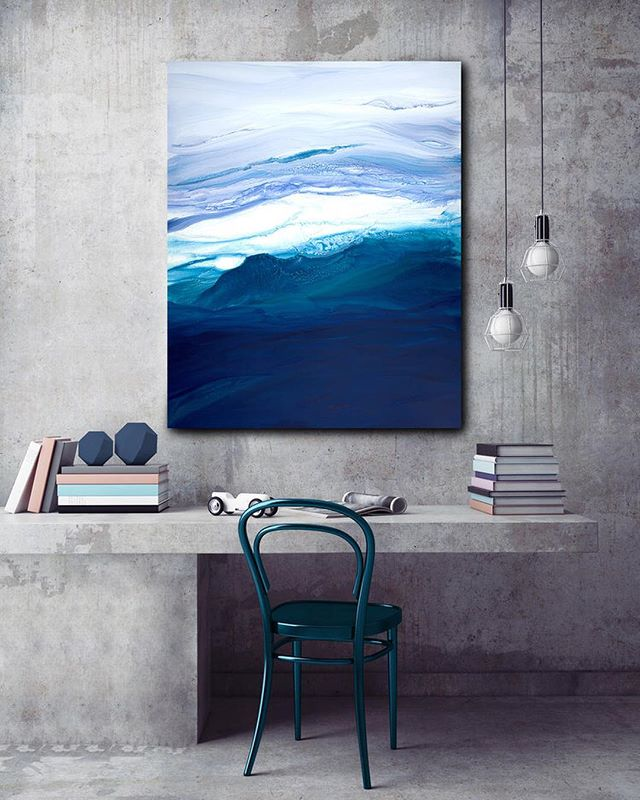 Calm your work space with soothing Saltwater✨🌊 Prints available in a variety of sizes on guererra.com🌴 . . . #addictedtoart #art #artist #abstractart #painting #paint #artwork #prints #shophandmade #shopsmall #colorful #emerald #instaart #interiordesign #interiorstyling #mintedartist #handmade #interiorliving #housebeautiful #contemporaryart #creative #buyart #iliketoartyhard #createeveryday #studio #modernart #apartment #houseandhome