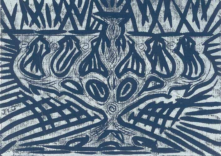 Hand-printed Menorah Linocut Bar Mitzvah Invitation, 2001