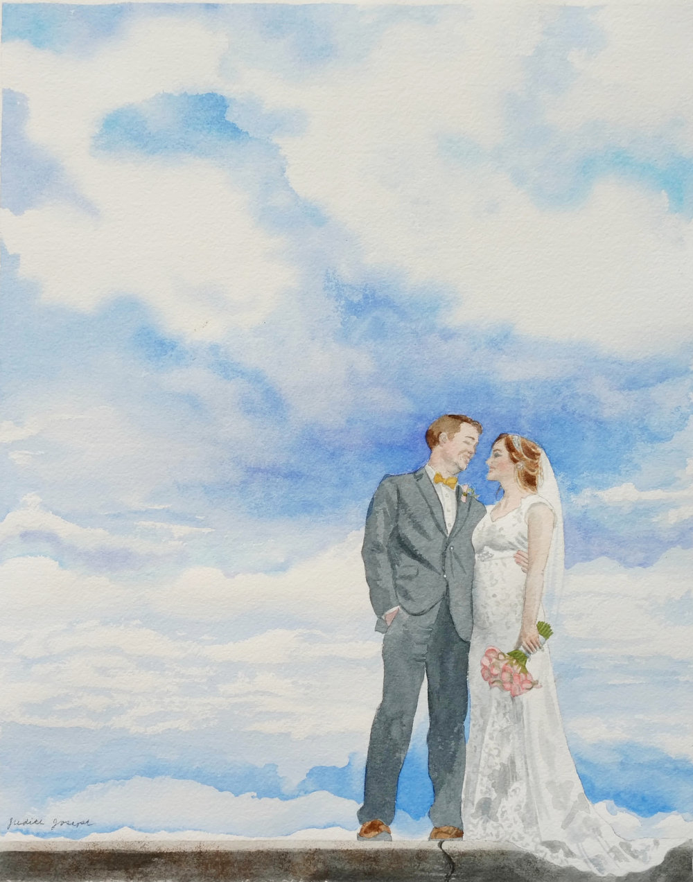 Watercolor Wedding Portrait