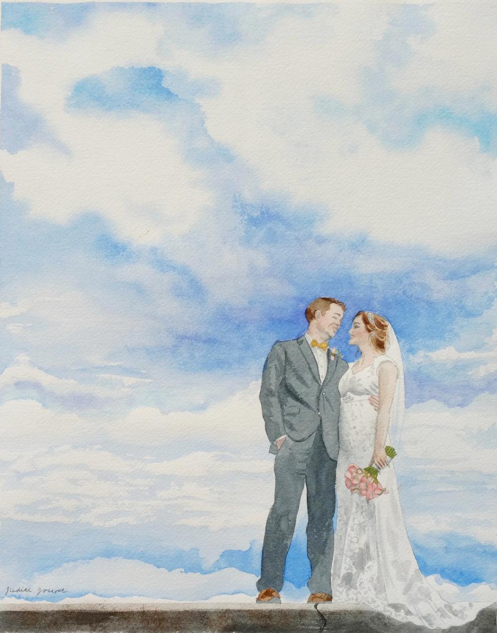 Watercolor Wedding Portrait