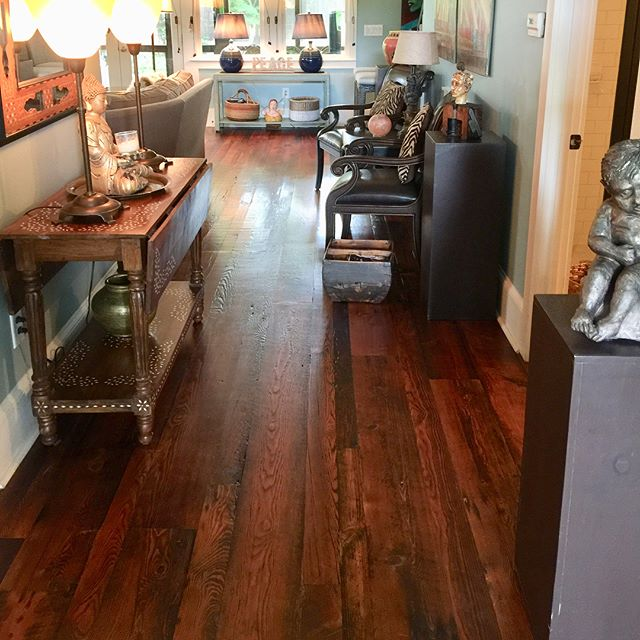 We milled and put these reclaimed floors in artist @nlewisart house about ten years ago. Three dogs and some grandchildren later had worn the finish in main the main traffic areas, but we didn't want to lose the original surface character of this century old pine reclaimed out of a Johnson City, TN train station - so we spot treated the most worn areas and applied a commercial water based satin finish to get these floors back to original shape. Thanks for the pics @nlewisart. #artanddesign #designer  #reclaimedwood #floors #reclaimedfloors #hardwood #oldwood #interiorstyling #interiordecor #home #instadecor #brooklyn #IDCdesigners #interior_delux #wood #concept #woodworking #reclaimed #reclaimedwood #salvage #interiordecor #houzz #interiorstyling #wallcovering #designinspo #SOdomino #myoklstyle #findyourspot