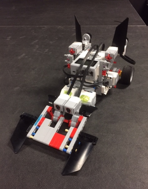 A driving model of the Batmoblie made out of FLL Lego kits by our 5th week staff and campers