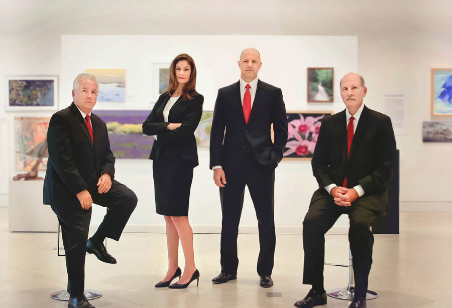 Image of attorneys (from left to right): William Hazzard, Sonia Diaz, Damian Taylor, and J. Michael Coleman.