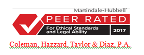 Logo for Martindale-Hubbell Peer Rated for Ethical Standards and Legal Ability