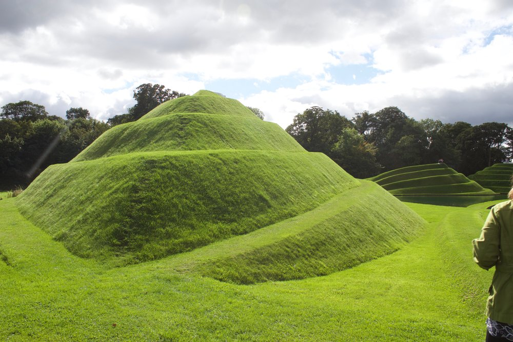 "Life mounds  by Charles Jencks (made from earth)  ""A landform celebration of the cell as the basis of life""  - CJ"