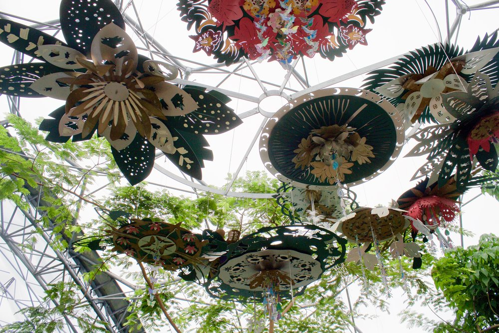 This spectacular chandelier hangs above  #Edens new  #Rainforest Canopy Walkway. The forms and clusters are inspired by the many aspects of  #biodiversity 🌴 how do plants  #eat ? #drink ? produce  #energy ? reproduce? And survive in the interconnected web of life? Created by artist Celine Holman 🌺 © AWA 2017