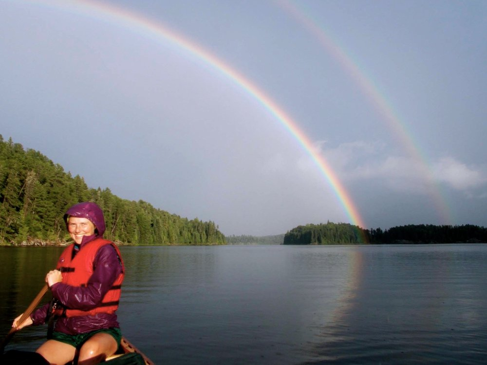 Rainbows after the rain - paddling through the Quetico on a three week canoe trip.