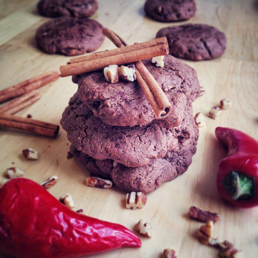 Chocolate Chili Pecan Cookies