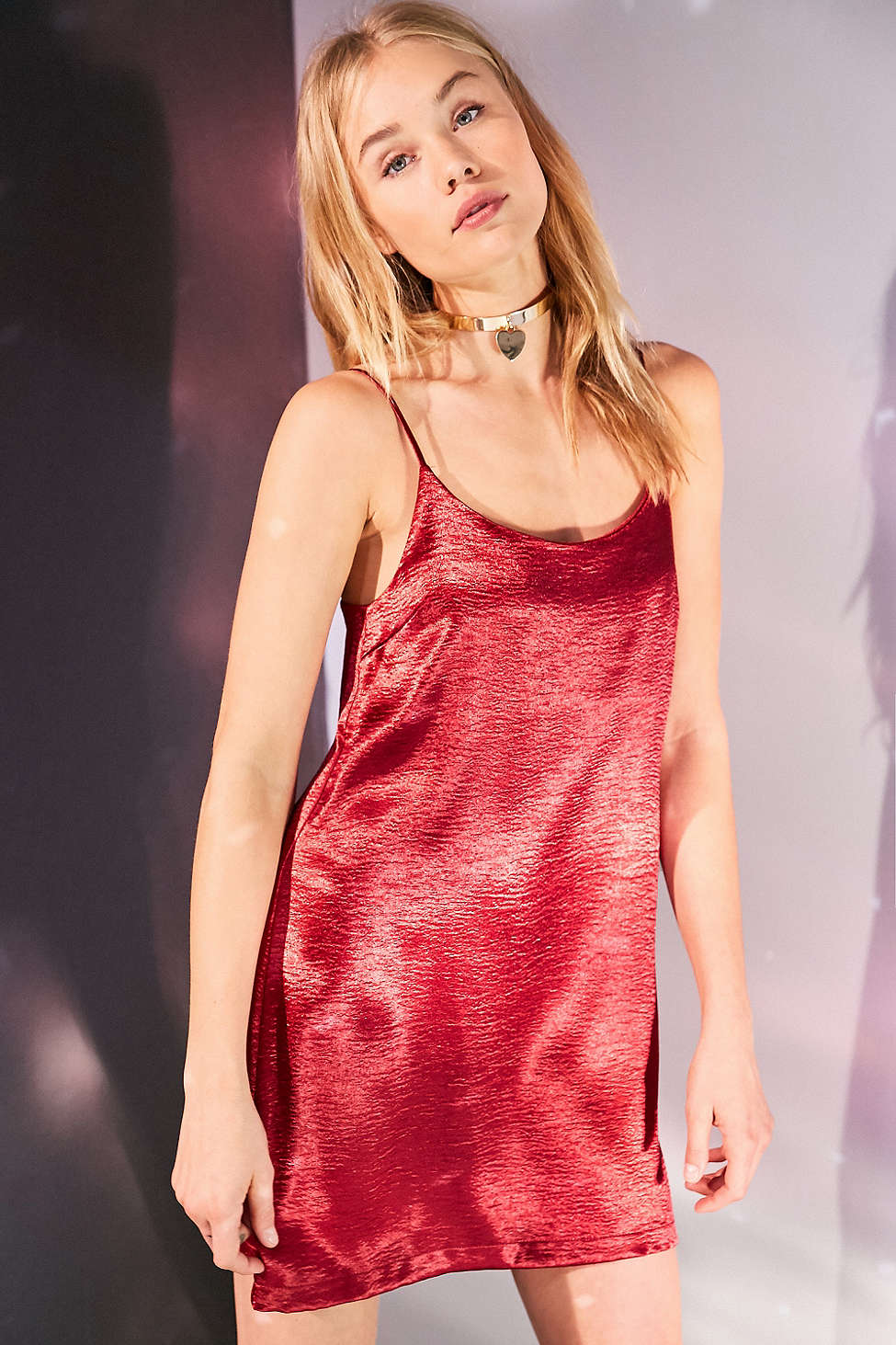 Silence and Noise Satin Shine Mini Slip Dress $59