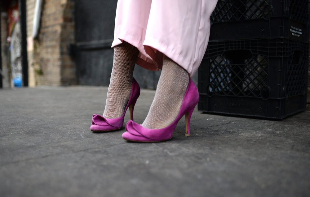 Pink Suede Pom Pom Pumps Fishnets