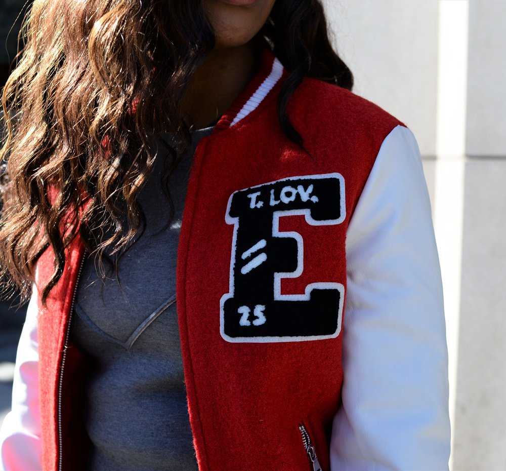 Patchwork Varsity Bomber Close Up Details
