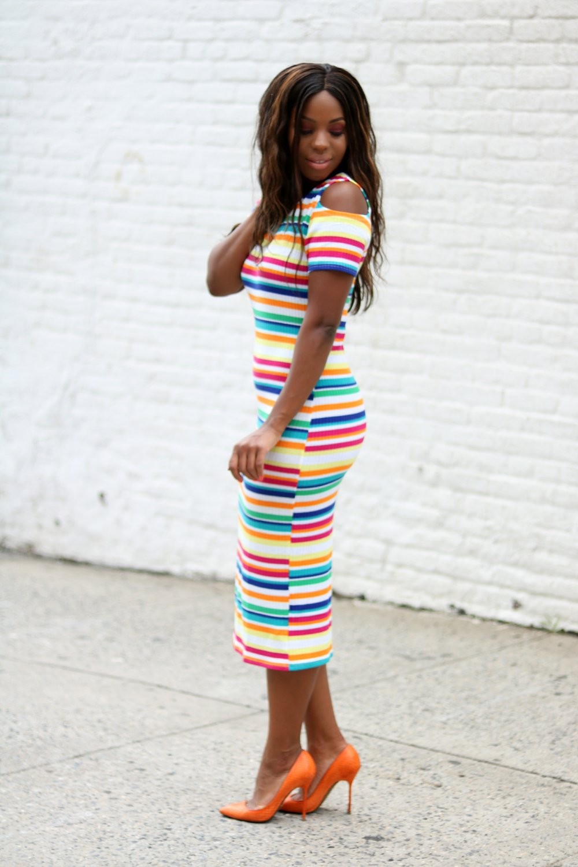 Horizontal Stripe Bodycon Cold Shoulder Dress.jpg