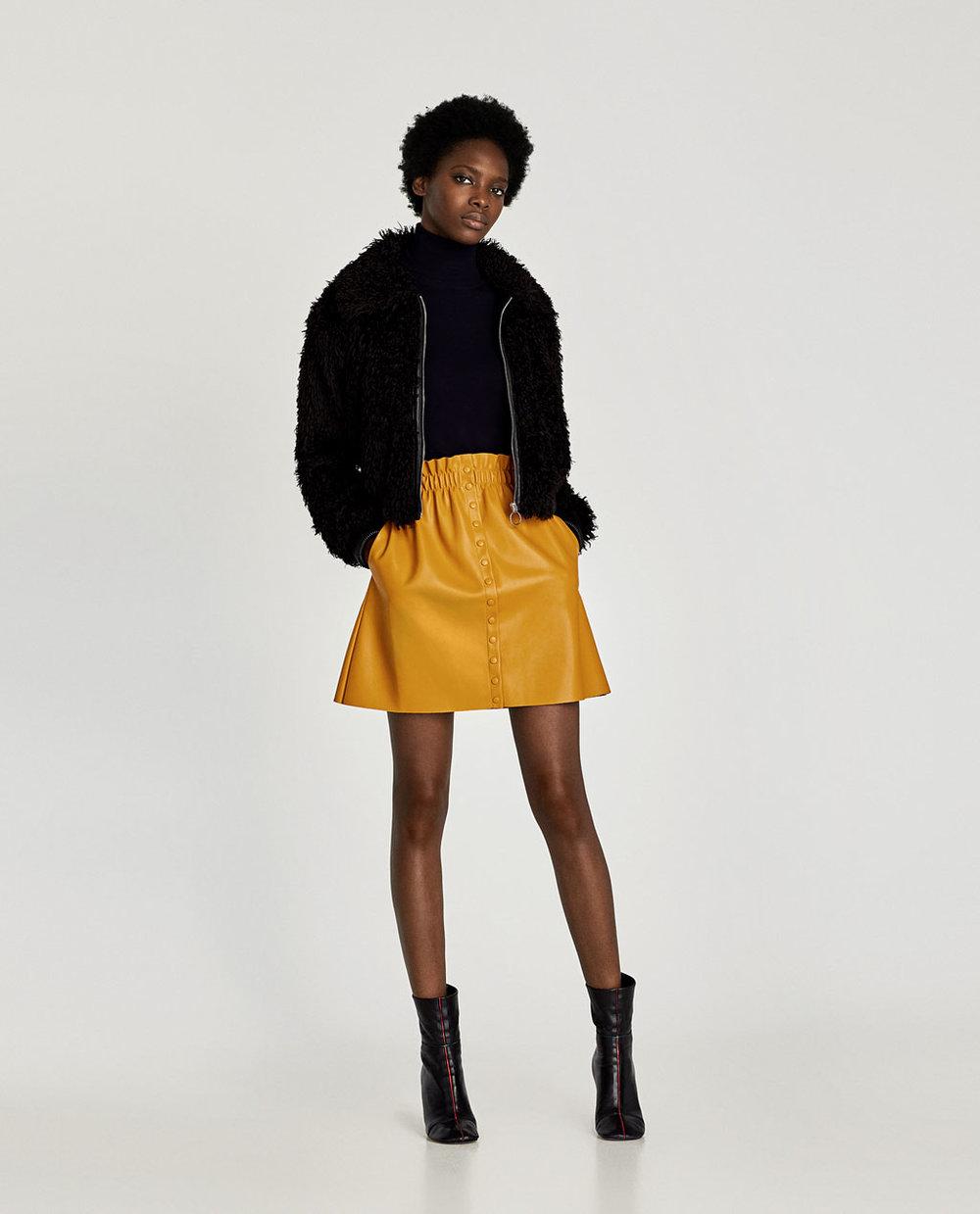 Zara Mustard Yellow Mini Skirt.jpg