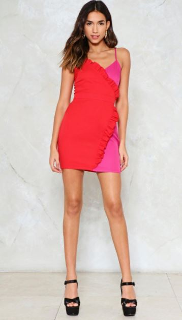 Nasty Gal Pink Red Wrap Dress.JPG