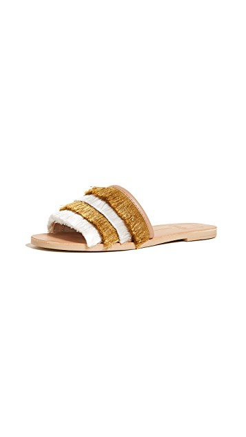 dolce yellow fringe slides 2.jpg