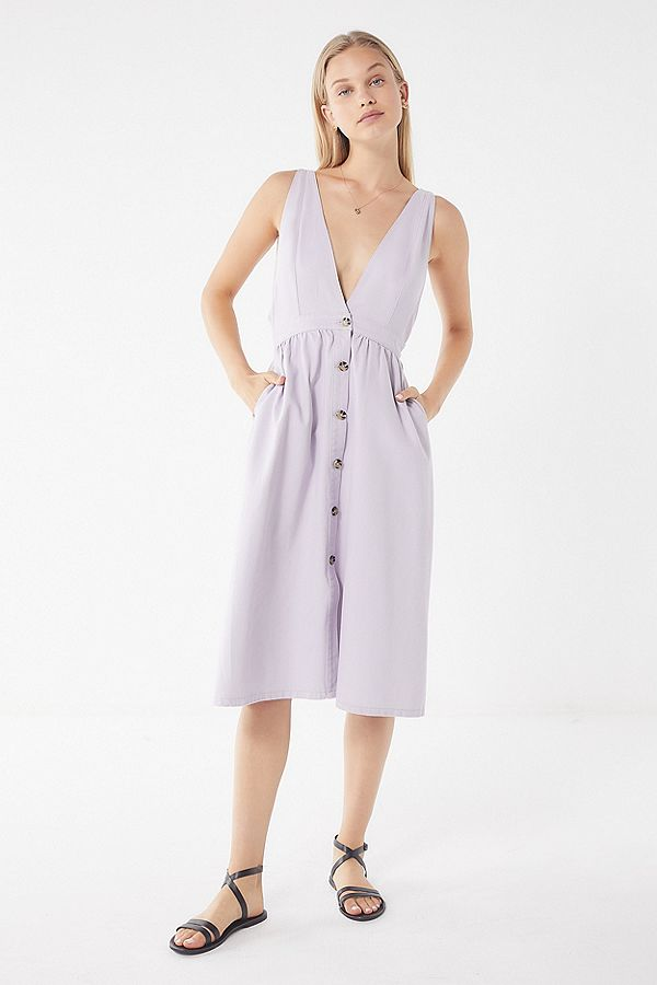 Linen Purple Plunging Neckline Denim Midi Dress.jpg