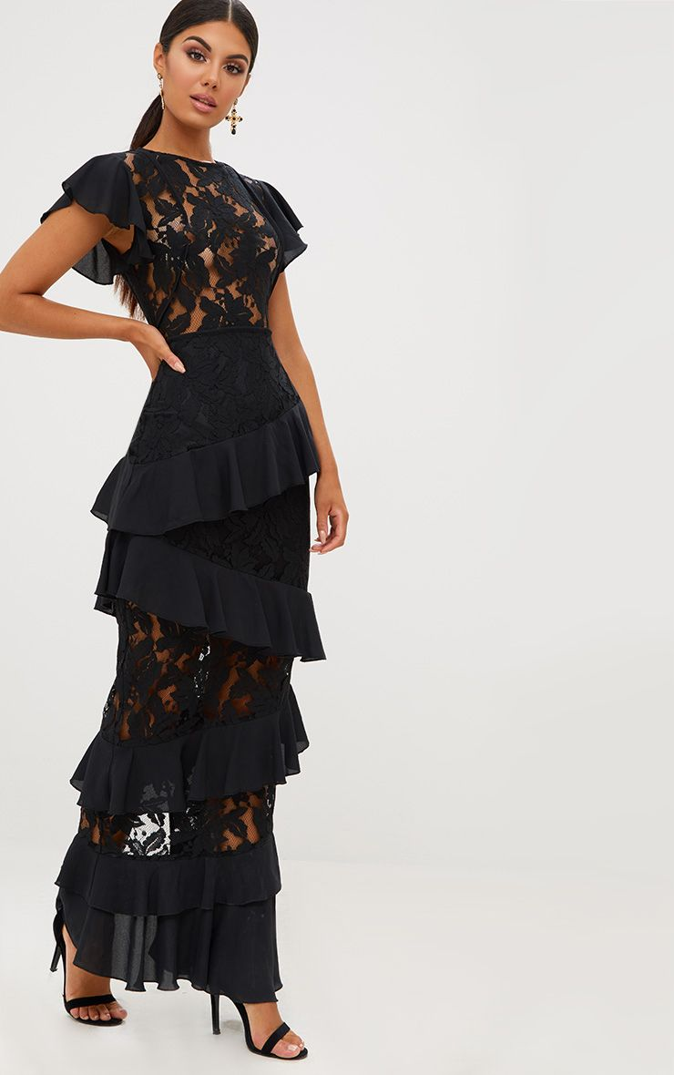 Black Ruffle Detail Maxi Dress.jpg