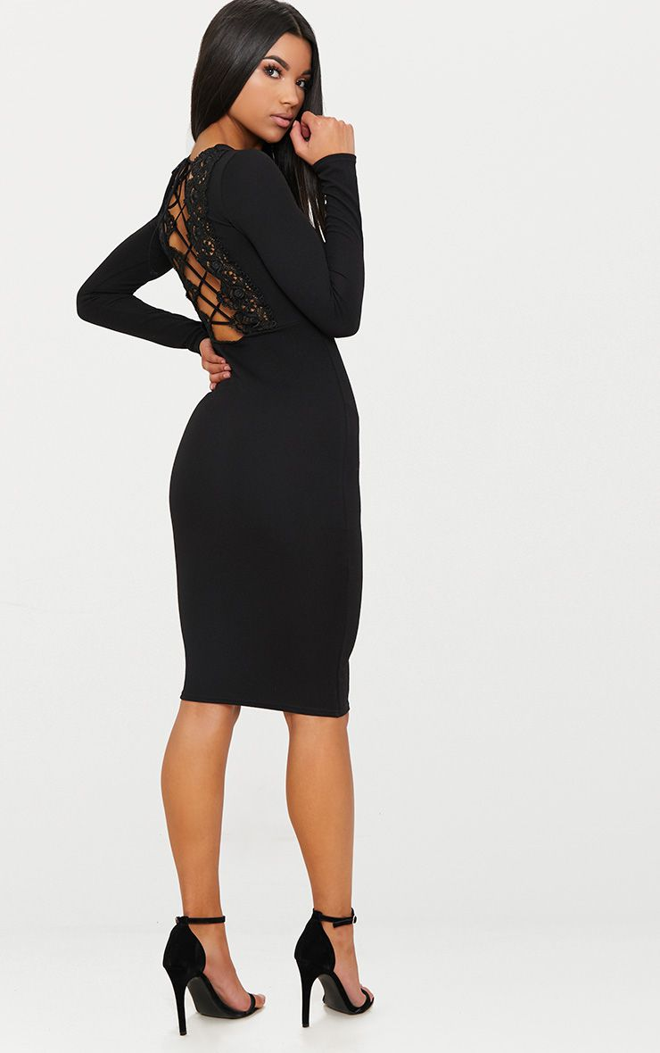 Black Lace Up Back Midi Dress.jpg