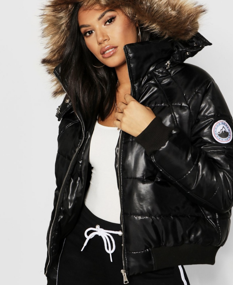 TALL FAUX FUR TRIM PUFFER JACKET