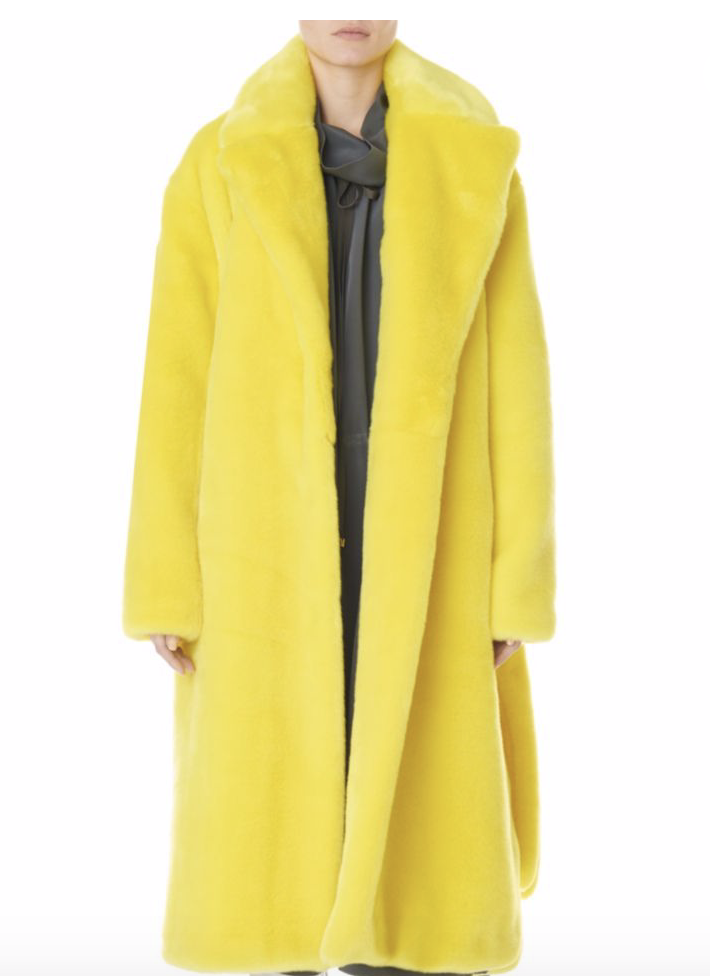 TIBI - OVERSIZED FAUX FUR BELTED TRENCH COAT
