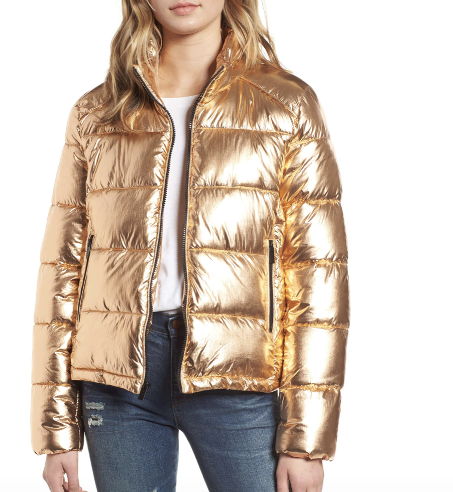MARC NEW YORK METALLIC PUFFER JACKET