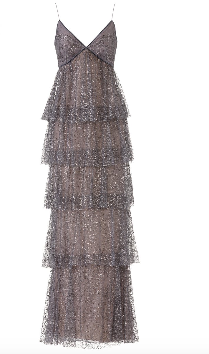 MARCHESA NOTTE GLITTER TIERED GOWN