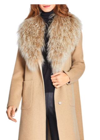 DAWN LEVY CECE REVERSIBLE MONGOLIAN SHEEP SHEARLING TRIM COAT