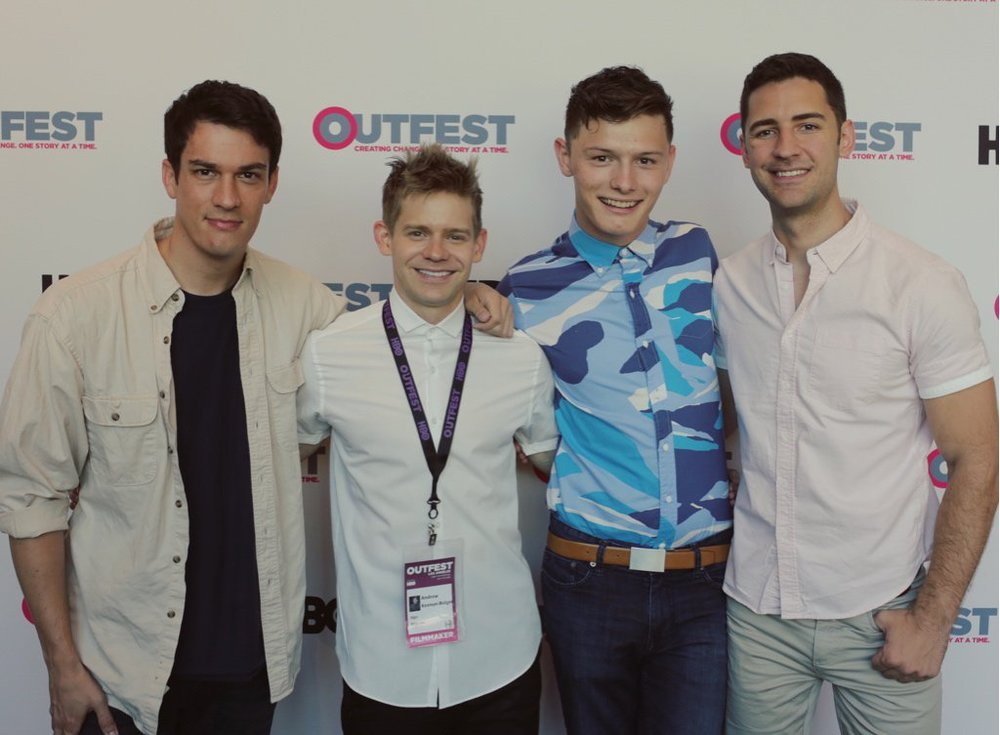 The film Andrew directed, SIGN, premiered to a sold out audience at OutFest -- the biggest LGBT film festival in the country. Andrew posed with cast members Preston Sadleir, Joshua Castille and Scott Bixby.