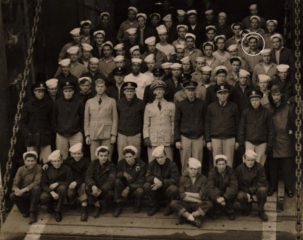 Nibby (circled) in the Navy during WWII.