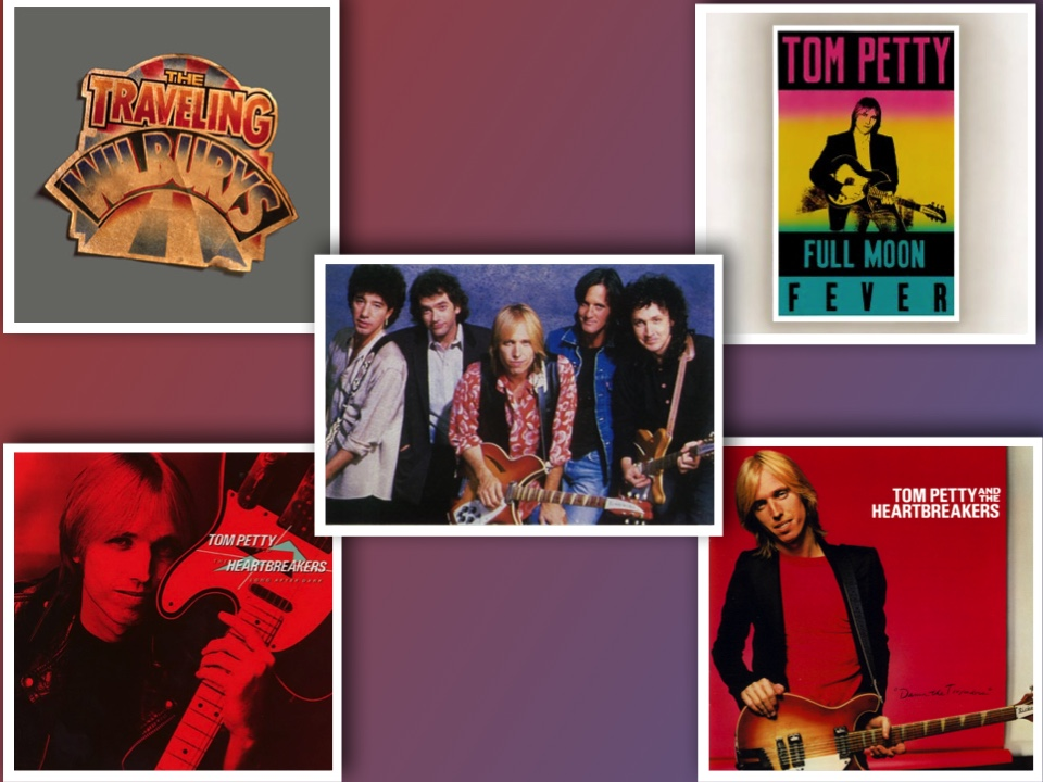From left to right: The Traveling Wilburys Collection (2007 Box Set), Full Moon Fever (1989 Album), Tom Petty and The Heartbreakers, Long After Dark (1982 Album), Damn The Torpedoes (1979 Album)