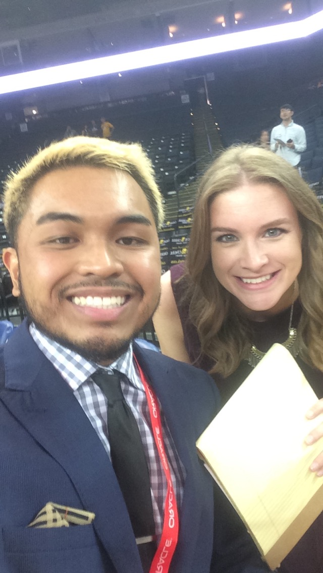 Brandon Cadiz with Golden State Warriors Sideline Reporter   Kerith Burke   on her first night on the job with   NBC Sports Bay Area  .