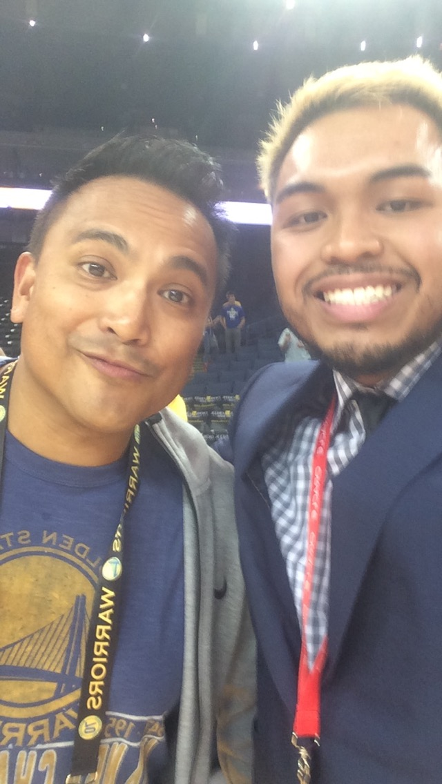 Brandon Cadiz with Golden State Warriors stadium Hype-Man   Franco Finn  .