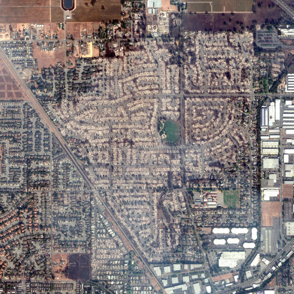 Aerial View of Coffey Park neighborhood by   The New York Times