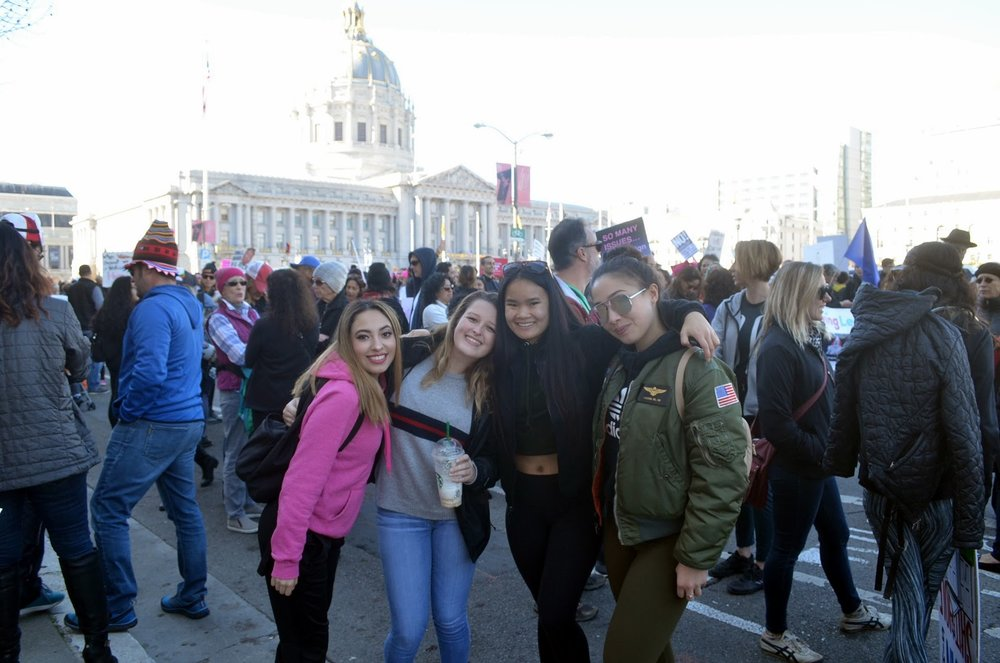 Dominican freshman students Jennifer Eleccion, Vanessa Ramirez, Jamie Nero and Sarah Selby attend the Women's March 2018.
