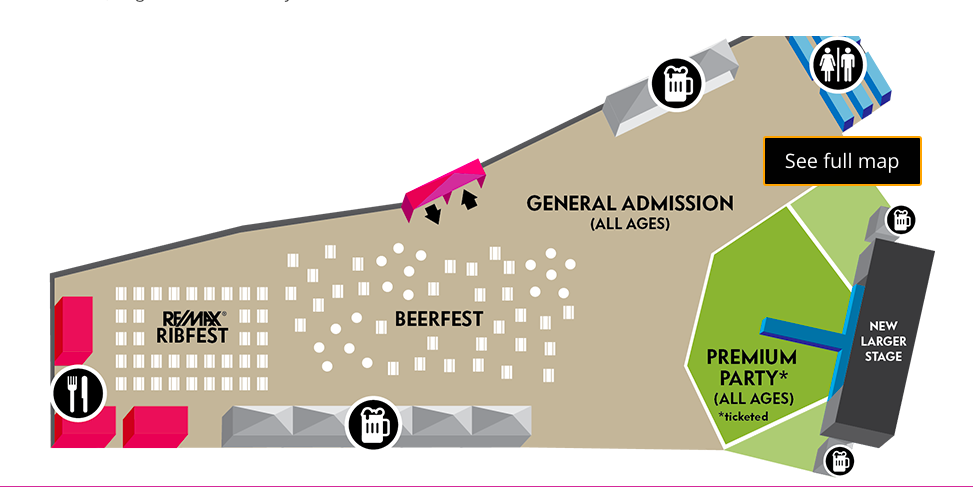 Stage View - * Front of stage is paid premium ticket holders.* The general admission area is free.